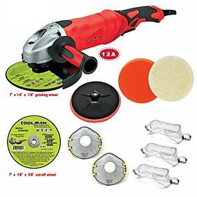 preiswerte Elektrowerkzeuge-toolman 11pcs winkelschleifer 7 12a 6 variable geschwindigkeit&Ampere; Trennscheibe Schleifscheibe
