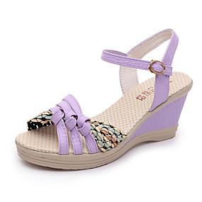 preiswerte Sandalen mit Keilabsatz-Damen PU Sommer Sandalen Keilabsatz Schwarz / Purpur / Blau