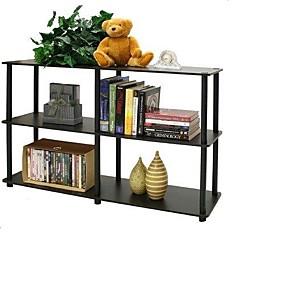 preiswerte Wohnzimmermöbel-Regal- / Regal-Bücherregal mit 3 Etagen in Espresso / Schwarz