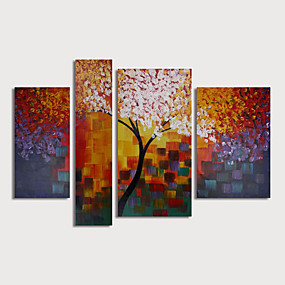 povoljno Slike za cvjetnim/biljnim motivima-Hang oslikana uljanim bojama Ručno oslikana - Cvjetni / Botanički Moderna Uključi Unutarnji okvir / Četiri plohe