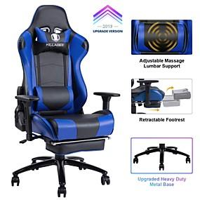 preiswerte Gaming-Stühle-killabee big and tall 350lb Massagesessel aus Memory Foam - verstellbares Massagekissen für die Lendenwirbelsäule versenkbare Fußstütze und 2d Arme hoher Rücken ergonomisch ...