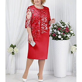 cheap Red Dresses-Women's T Shirt Dress Lace Fashion Spring Light Blue Blue Red S M L XL