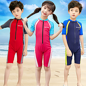 cheap Surfing, Swimming & Diving-Boys' Girls' Rash Guard Dive Skin Suit Bodysuit UV Sun Protection Quick Dry Half Sleeve Front Zip - Swimming Patchwork Spring Summer / High Elasticity / Kid's