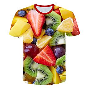 cheap Athleisure Wear-Men's T shirt Shirt Graphic 3D Fruit Plus Size Print Short Sleeve Club Tops Streetwear Exaggerated Round Neck Rainbow / Beach