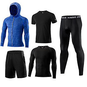 cheap Men's Activewear-1bests Men's Full Zip Tracksuit Activewear Set Workout Outfits Athletic 5pcs Long Sleeve Quick Dry Lightweight Breathable Fitness Gym Workout Basketball Running Sportswear Solid Colored White Black