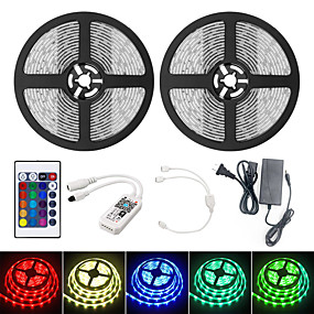 cheap WiFi Control-10M Smart WIFI LED Light Strips RGB Tiktok Lights SMD 2835 9mm Light With 24Keys 600LED IP65 Waterproof DC12V With 5A US Power