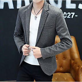 preiswerte The Wedding Store-- To Beautiful you-Schwarz / Grau / Hell Gray Solide Schlanke Passform Polyester Anzug - Fallendes Revers Einreiher - 1 Knopf