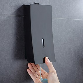 cheap Bath Accessories-Soap Dispenser Wall Mount Soap/Shampoo/Lotion Shower Dispenser System Cool Matte Black Constraction ABS 1pc Wall Mounted Push Button Handwash Machine