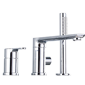 cheap New Arrivals-Shower Faucet Chrome Other Ceramic Valve Bath Shower Mixer Taps