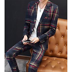 preiswerte The Wedding Store-- To Beautiful you-Rot / Grün Gestreift Schlanke Passform Polyester Anzug - Fallendes Revers Einreiher - 1 Knopf