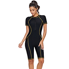 cheap Surfing, Swimming & Diving-Delamon Women's Rash Guard Dive Skin Suit Nylon Elastane Diving Suit UV Sun Protection Quick Dry Stretchy Long Sleeve Front Zip Boyleg - Swimming Diving Surfing Snorkeling Painting Autumn / Fall