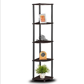 preiswerte Wohnzimmermöbel-Bücherregal mit 5 Eckregalen aus Espresso&Ampere; schwarz