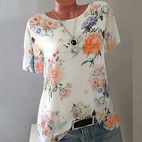 ราคาถูก New Arrivals-สำหรับผู้หญิง ขนาดพิเศษ เสื้อเชิร์ต เพรียวบาง รูปเรขาคณิต สีม่วง
