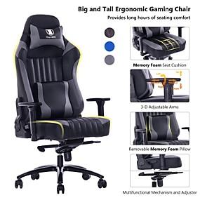 preiswerte Gaming-Stühle-killabee big and tall 400lb Memory Foam-Gaming-Stuhl mit Metallgestell - verstellbarer Neigungswinkel und ergonomische 3D-Arme aus Leder mit hoher Rückenlehne ...
