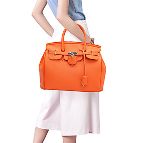 preiswerte Taschen-Damen Reißverschluss PU Tasche mit oberem Griff Schwarz / Orange / Rote
