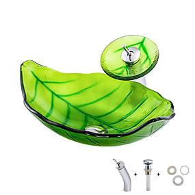 preiswerte Kitchen & Bathroom-Waschbecken für Badezimmer / Armatur für Badezimmer / Einbauring für Badezimmer Moderne - Hartglas Rechteckig Vessel Sink