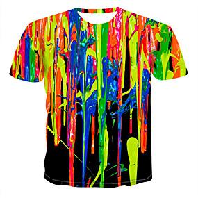cheap Athleisure Wear-Men's Graphic Simulation T-shirt Print Tops Round Neck Rainbow
