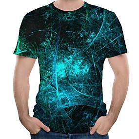 cheap 3D-Men's Daily Plus Size T-shirt - 3D Print Round Neck Royal Blue / Short Sleeve