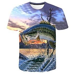 cheap Athleisure Wear-Men's T shirt Graphic 3D Plus Size Print Tops Blue
