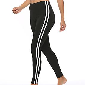 cheap Yoga & Fitness-Women's High Rise Yoga Pants Stripes Elastane Running Dance Fitness Tights Leggings Bottoms Activewear Moisture Wicking Butt Lift Tummy Control Power Flex High Elasticity Skinny