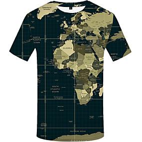 preiswerte Plan Your Summer-Herrn 3D Übergrössen T-shirt, Rundhalsausschnitt Druck Armeegrün