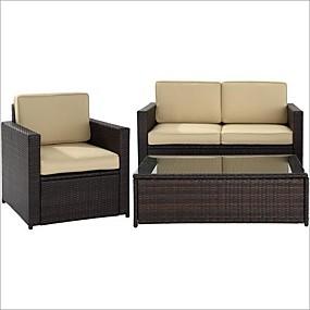 preiswerte Outdoor-Sofas-3-teiliges Terrassenmöbel-Set mit Stuhl, Loveseat und Cocktailtisch