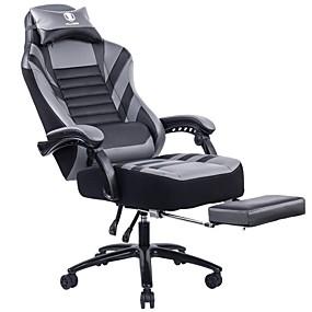 preiswerte Gaming-Stühle-Killabee groß&Amp Tall 400lb Memory Foam Liegestuhl aus Metall - verstellbarer Rückenwinkel und einziehbare Fußstütze Ergonomische High-Back-Leder-Renn ...