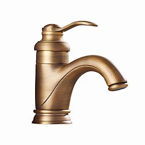 preiswerte Meist verkaufte Armaturen-Waschbecken Wasserhahn - Bodenstand Antikes Messing / Antikes Kupfer Mittellage Einhand Ein LochBath Taps