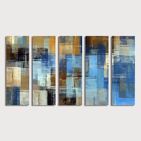 preiswerte Wand- & Ölbilder-Hang-Ölgemälde Handgemalte - Abstrakt Modern Fügen Innenrahmen / Fünf Panele