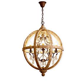 povoljno Lámpatestek-5 svjetiljke vintage kristal luster / drvena retro lampa za kafić dnevna soba blagovaonica svjetla / e12 / e14 vodio 5w žarulja uključena k9 kristal