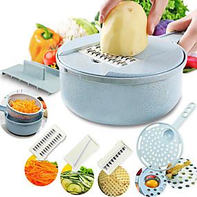 preiswerte Küche & Utensilien-Mandoline Slicer Gemüseschneider Kartoffelschäler Karotten Zwiebelreibe mit Siebkorb Gemüseschneider 8 in 1 Küchenzubehör