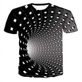 cheap Men's Tops-Men's Daily Plus Size T-shirt Graphic 3D Print Short Sleeve Tops Streetwear Punk & Gothic Round Neck Black Blue Purple / Summer