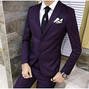preiswerte The Wedding Store-- To Beautiful you-Dunkelmarine / Hell Gray / Traube Solide Reguläre Passform Polyester Anzug - Fallendes Revers Einreiher - 2 Knöpfe