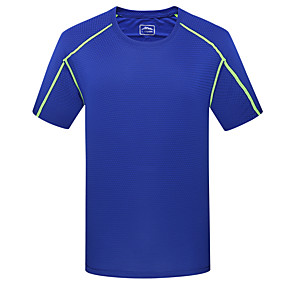 cheap Running & Jogging-Wolfcavalry® Men's Hiking Tee shirt Short Sleeve Crew Neck Tee Tshirt Top Outdoor Quick Dry Breathable Stretchy Comfortable Spring Summer Polyester Solid Color Light Green Army Green Orange Hunting