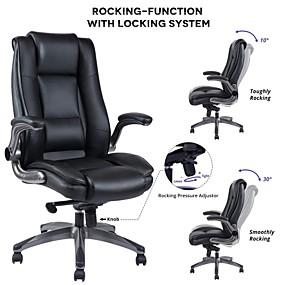 preiswerte Gaming-Stühle-vanbow Bürostuhl aus Leder mit hoher Rückenlehne - einstellbarer Neigungswinkel und hochklappbare Arme Chefcomputer-Schreibtischstuhl mit dicker Polsterung für Komfort und ergonomisches Design ...