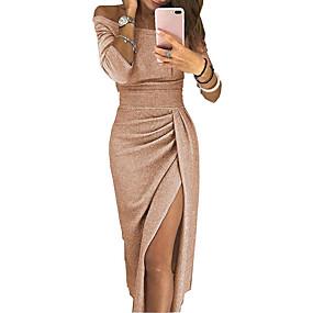 preiswerte Damenbekleidung-Damen Anspruchsvoll Hülle Kleid - Patchwork, Blumen Solide Übers Knie Schulterfrei