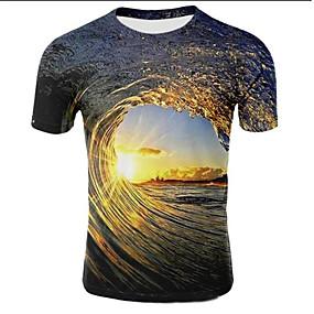 preiswerte Men's Clothing-Herrn Galaxis / 3D Übergrössen T-shirt, Rundhalsausschnitt Druck Leicht Braun