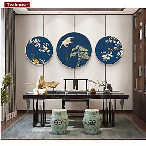 preiswerte Sales-Gerahmtes Leinenbild Bedruckt - Landschaft Blumenmuster / Botanisch Holz Skizze Wandkunst