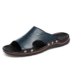 povoljno Modne papuče-Muškarci Kožne cipele Koža Ljeto Klasik Papuče i japanke Prozračnost Bijela / Plava / Tamno smeđa