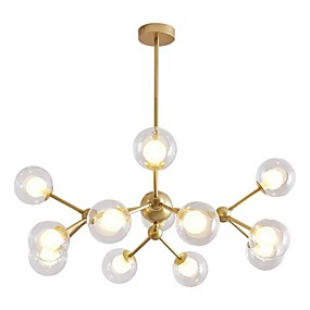 cheap Chandeliers-12-Head Nordic Style Chandelier Glass Molecules Pendant Lights Living Room Bedroom Dining Room Painted Finish