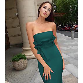preiswerte This Summer You Are The Most Fashionable-Damen Grundlegend Hülle Kleid - Schleife, Solide Midi