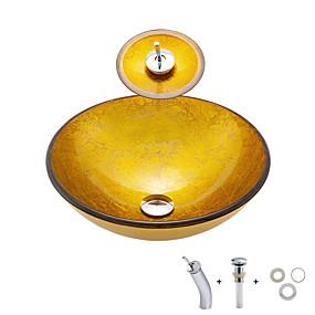 preiswerte Armaturen-Waschbecken für Badezimmer / Einbauring für Badezimmer / Wasserablass für Badezimmer Moderne - Hartglas Rundförmig Vessel Sink