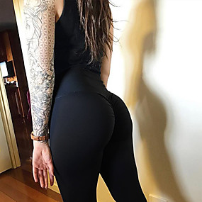 cheap Women-Women's High Waist Yoga Pants Leggings Butt Lift Moisture Wicking Black Purple Red Elastane Sports Activewear Stretchy