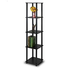 preiswerte Wohnzimmermöbel-Bücherregal mit 5 Etagen und quadratischer Eckauslage in Espresso / Schwarz