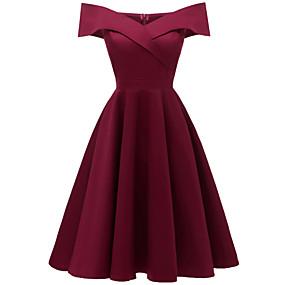 preiswerte Mode Exklusiv-A-Linie Schulterfrei Tee-Länge Baumwolle / Stretch - Satin Kleid mit Plissee durch LAN TING Express