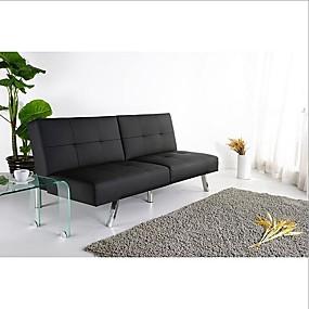 preiswerte Wohnzimmermöbel-Klappbares klappbares Futon-Schlafsofa aus schwarzem Kunstleder