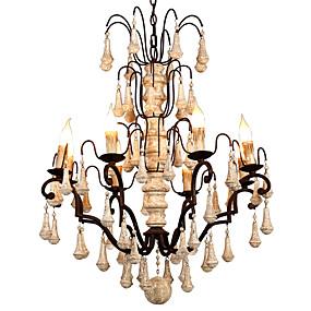 povoljno Lámpatestek-8 svjetiljki vintage luster za svijeće / drvena retro kristalna svjetiljka za kafić dnevna soba blagovaonica blagovaonice / e12 / e14 bez žarulje