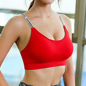 cheap Running & Jogging-Women's Sports Bra Crop Top Bra Top Open Back Cotton Fitness Running Jogging Breathable Sweat wicking Push Up Padded Medium Support White Black Red Blue Green Letter & Number
