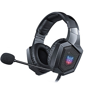 cheap Gaming Tribe-ONIKUMA K8 Gaming Headset Casque Wired PC Gamer Stereo Bass Gaming Headphones with Microphone LED Lights for PS4 XBox One Laptop Tablet