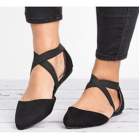 voordelige Damesschoenen met platte hak-Dames Suède Lente Platte schoenen Platte hak Zwart / Bruin / Luipaard